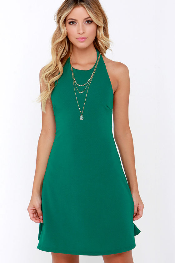Cute Teal Green Dress - Halter Dress - A-Line Dress - $38.00