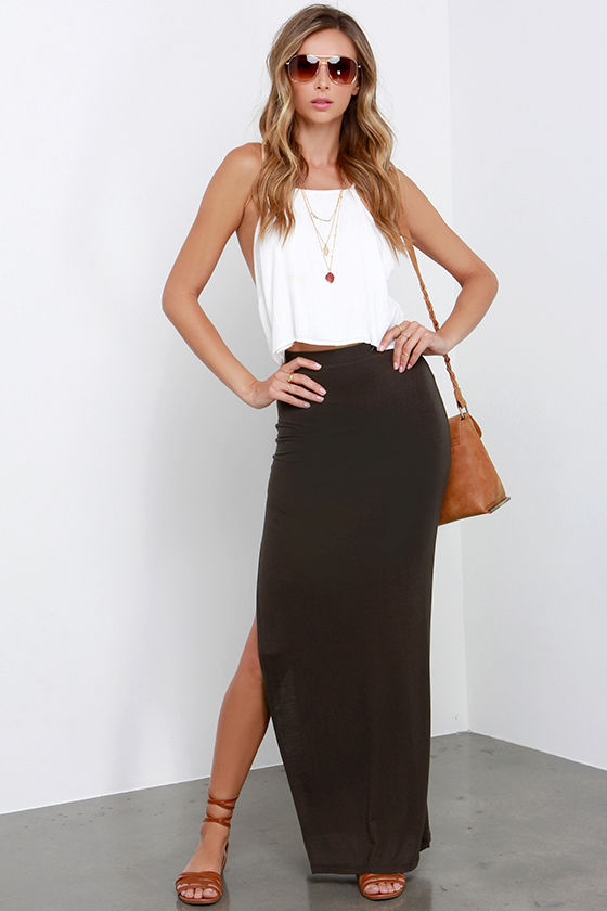 entire collection 100% satisfaction guarantee enjoy clearance price Maxi-mum Power Charcoal Grey Maxi Skirt