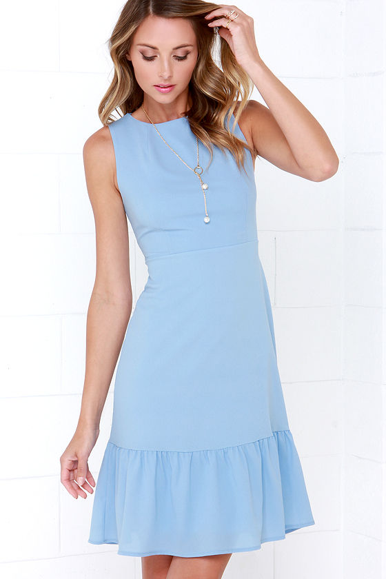 Light Blue Dress - Midi Dress - Sleeveless Dress - $48.00