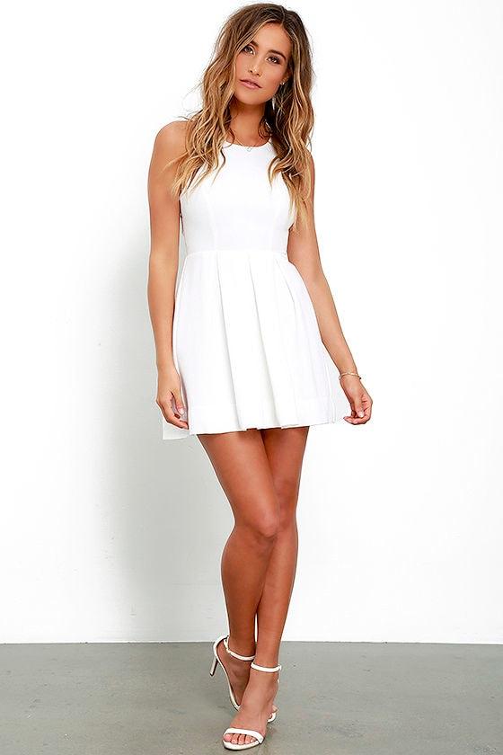 2eae15adead Cute White Skater Dress - White Homecoming Dress -  45.00