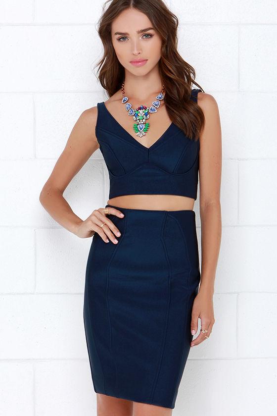 e6015797cd Navy Blue Dress - Two-Piece Dress - Banded Dress -  118.00