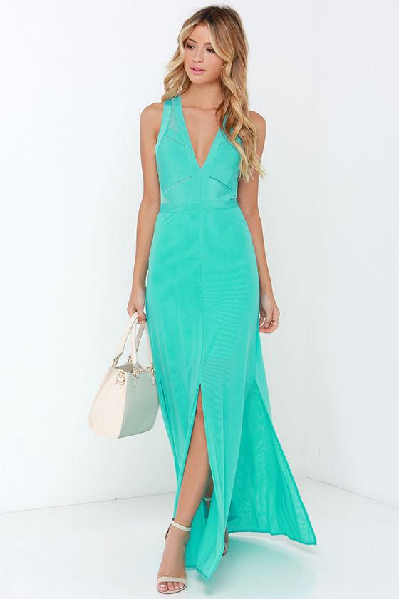 Beautiful Aqua Maxi Dress Mesh Dress Bandage Dress
