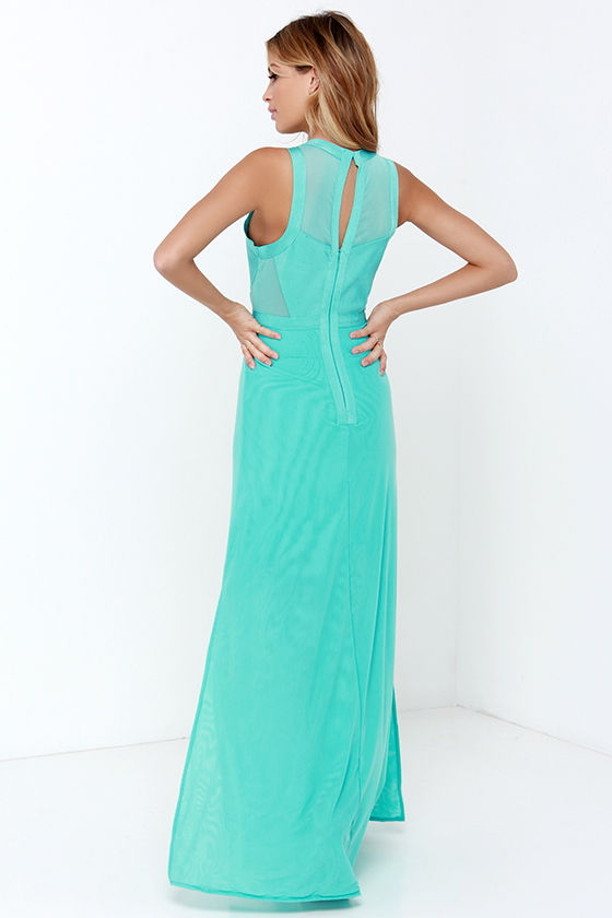 Beautiful Aqua Maxi Dress - Mesh Dress - Bandage Dress - $78.00