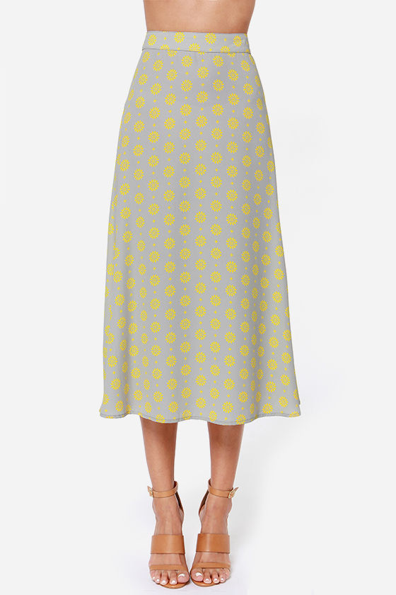 Pack Your Bags Yellow and Grey Print Midi Skirt at Lulus.com!