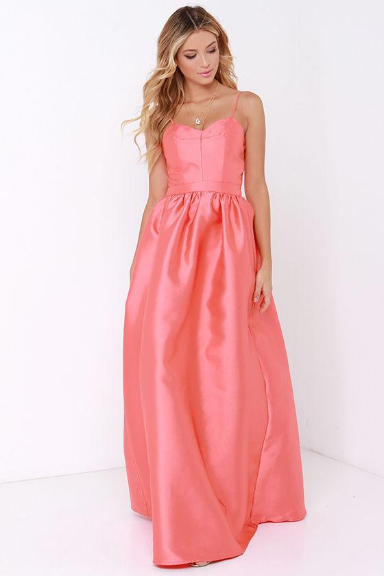 Coral Gown - Maxi Dress - Coral Bridesmaid Dress - $64.00