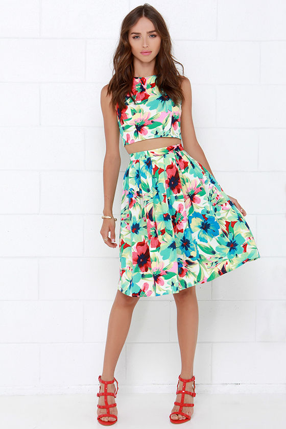 a8cc4ec5d024 Blue Floral Print Two-Piece Dress - Pleated Dress - Floral Print Set ...