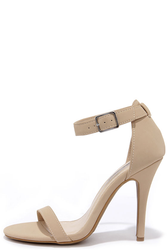 abe20c2e3885 Cute Nude High Heels - Nubuck Ankle Strap Heels