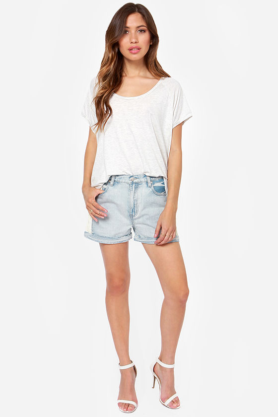 Mink Pink White Trash Superstar Vegan Leather and Denim Shorts at Lulus.com!