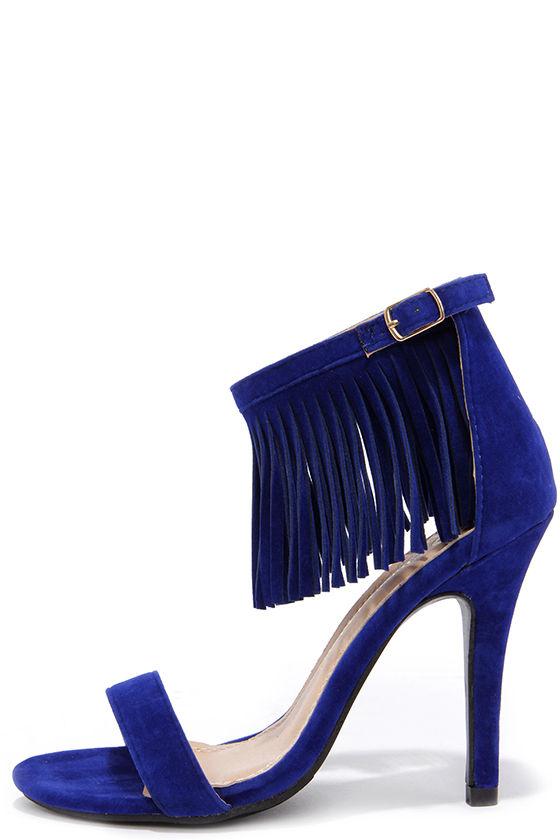 Cute Blue Heels - Fringe Heels - Ankle Strap Heels - $31.00