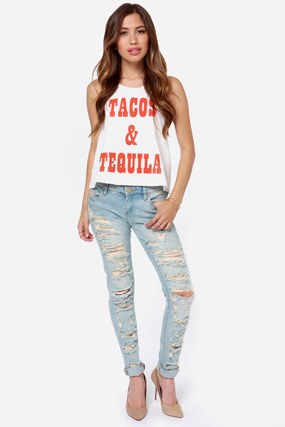 Mink Pink Mexican Madness Ivory Muscle Tee at Lulus.com!