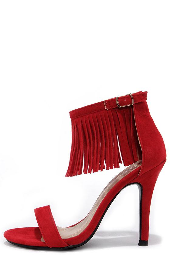 Cute Red Heels - Fringe Heels - Ankle Strap Heels - $31.00