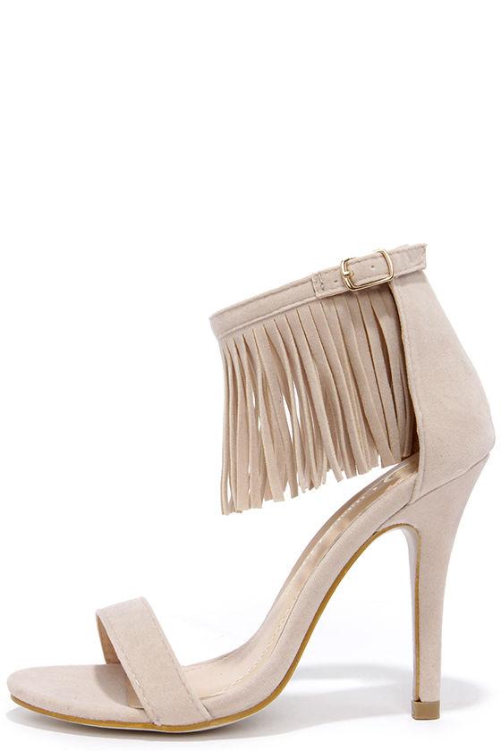 Cute Nude Heels - Fringe Heels - Ankle Strap Heels - $31.00