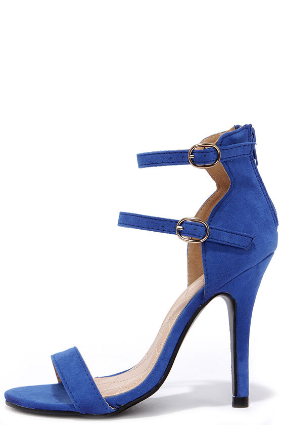 Cute Blue Heels - Ankle Strap Heels - Dress Sandals - $31.00