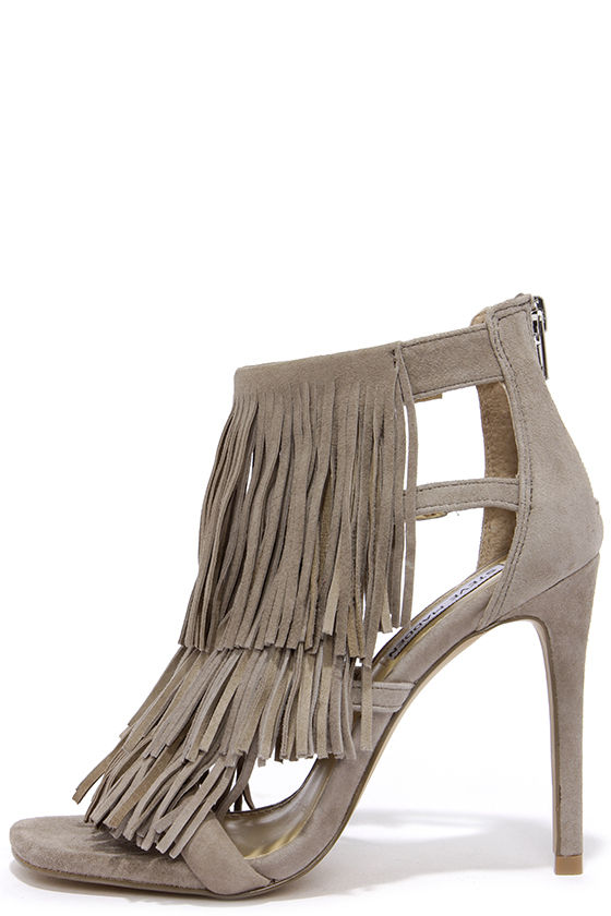 2152224e85f Steve Madden Fringly Taupe Suede Leather Dress Sandals