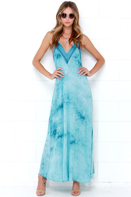 Turquoise Maxi Dress - Embroidered Maxi Dress - Boho Dress - $108.00