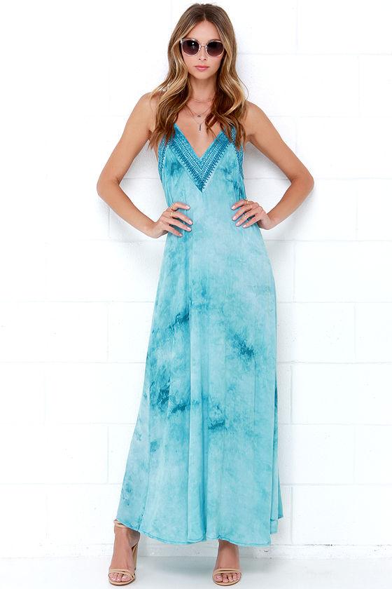 Turquoise Maxi Dress - Embroidered Maxi Dress - Boho Dress - $108.00