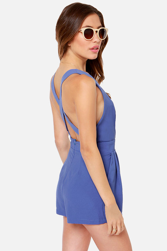 LULUS Exclusive Say the Word Periwinkle Romper at Lulus.com!