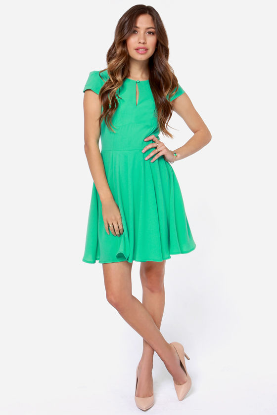 Cute Green Dress - Skater Dress - $47