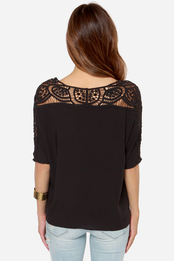 Where They Wander Crochet Black Top at Lulus.com!