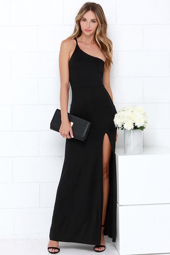 19778af944e Sexy Black Maxi Dress - One Shoulder Dress -  38.00