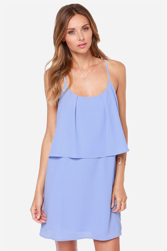 Cute Periwinkle Blue Dress - Tiered Dress - $44.00
