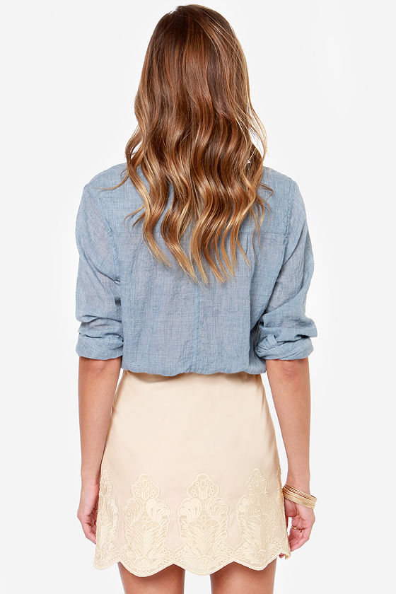 Embroidered Dreams Light Beige Skirt at Lulus.com!