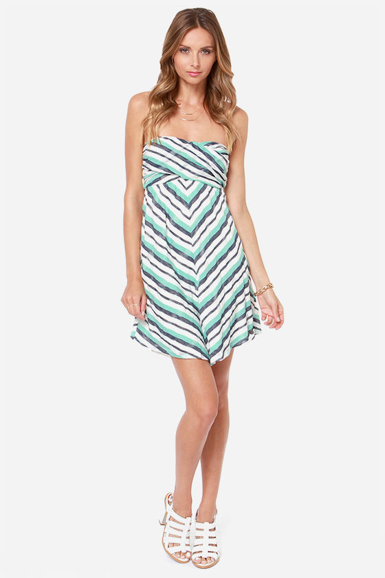 Roxy Cedar Ridge Strapless Turquoise Striped Dress at Lulus.com!