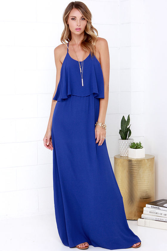 Cute Blue Maxi Dress - Tiered Maxi Dress - Open Back Dress - $57.00