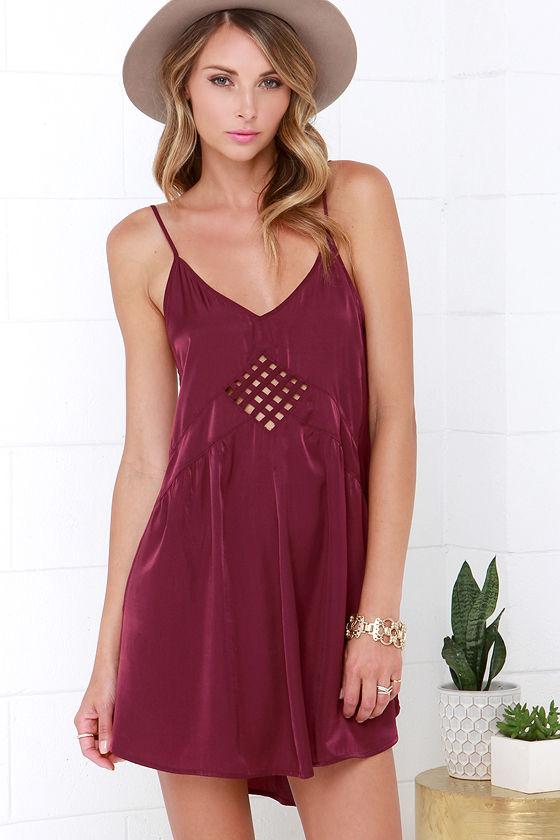 e4649b1f1d68 Sexy Burgundy Dress - Slip Dress - Cutout Dress - $66.00