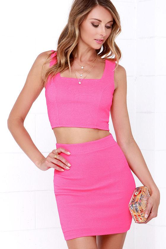 Two-Piece Dress - Hot Pink Dress - Bodycon Dress - $49.00