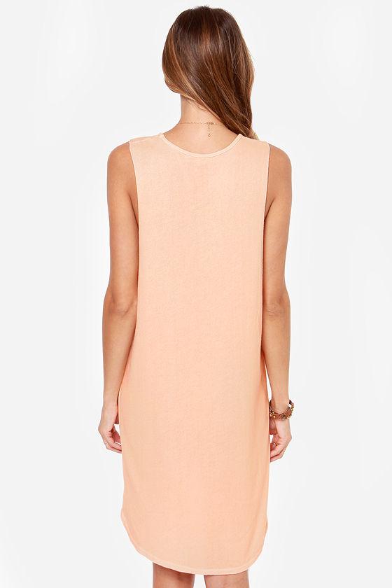 Obey Tie Dye Mental Sleeveless Peach Dress at Lulus.com!