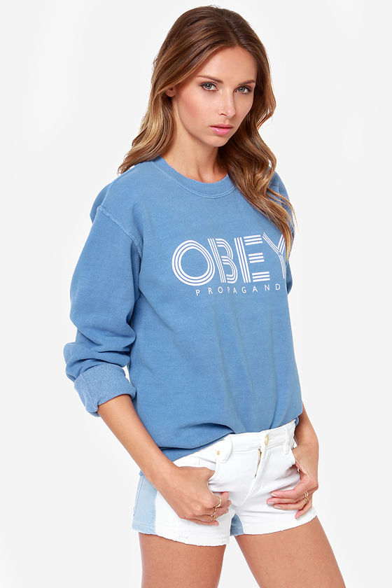 Obey Pret a Mourir Washed Blue Sweatshirt at Lulus.com!