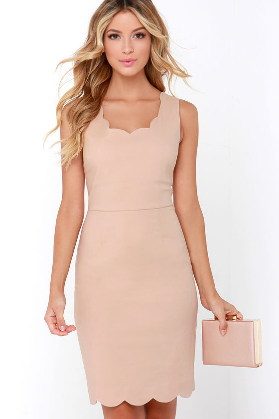 Cute Beige Dress - Scalloped Dress - Cocktail Dress - $47.00