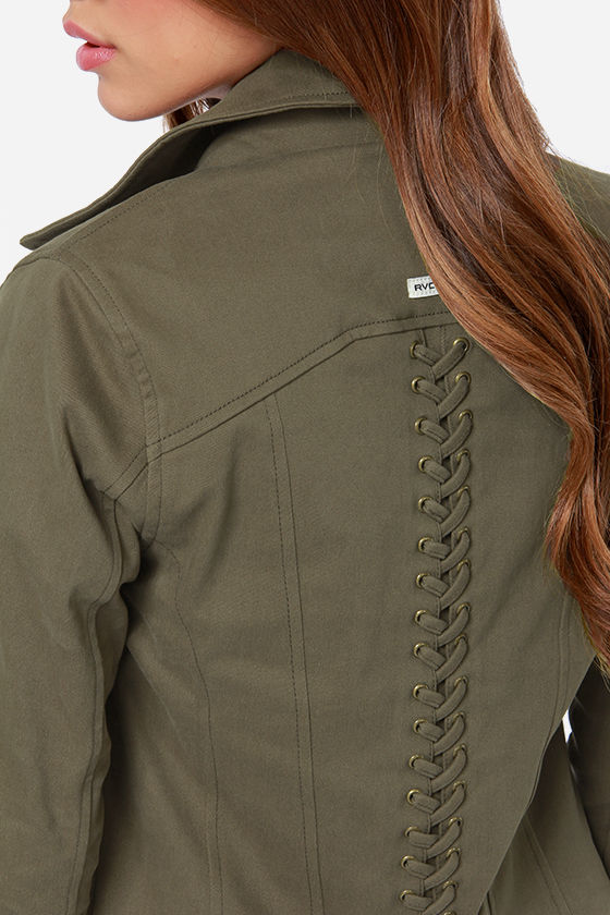 RVCA Agnes Army Green Jacket at Lulus.com!
