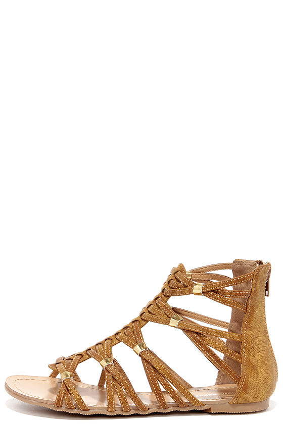 bbb32a54c70 Cute Tan Sandals - Gladiator Sandals - Flat Sandals - $28.00