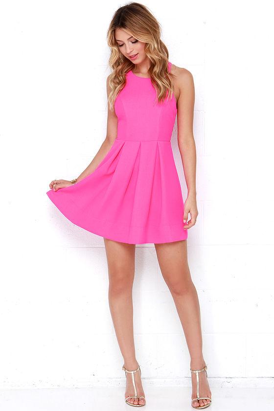 Sexy Neon Pink Dress - Backless Dress - Skater Dress - $45.00