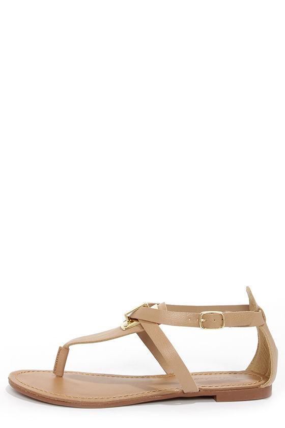 9979b2bdc36d Cute Sandals - Natural and Gold Sandals - Flat Sandals