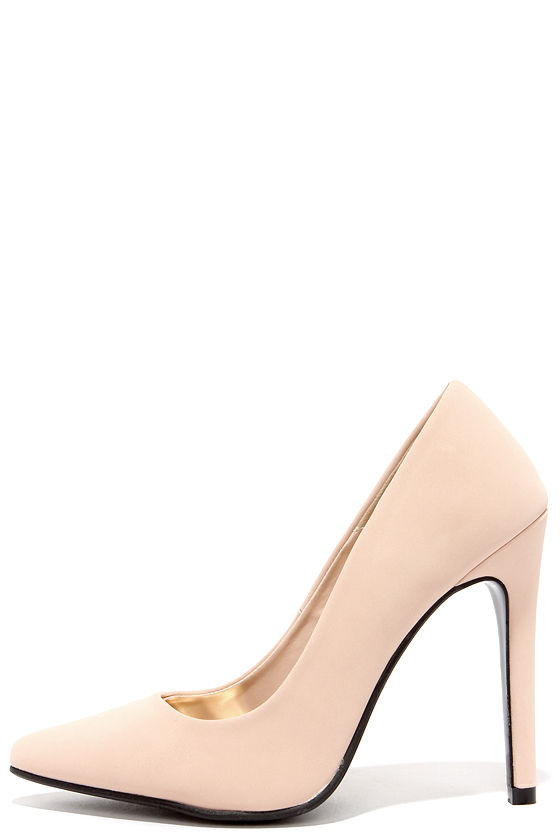 Lovely Nude Heels - Nubucks Heels - Vegan Leather Heels - $28.00