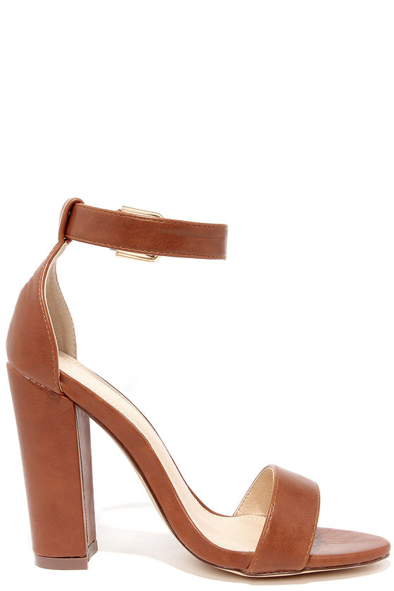 Cute Ankle Strap Heels - High Heel Sandals - Brown Heels - $34.00