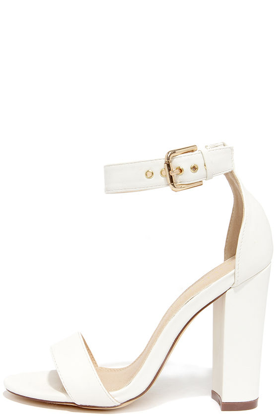 Cute Ankle Strap Heels High Heel Sandals White Heels