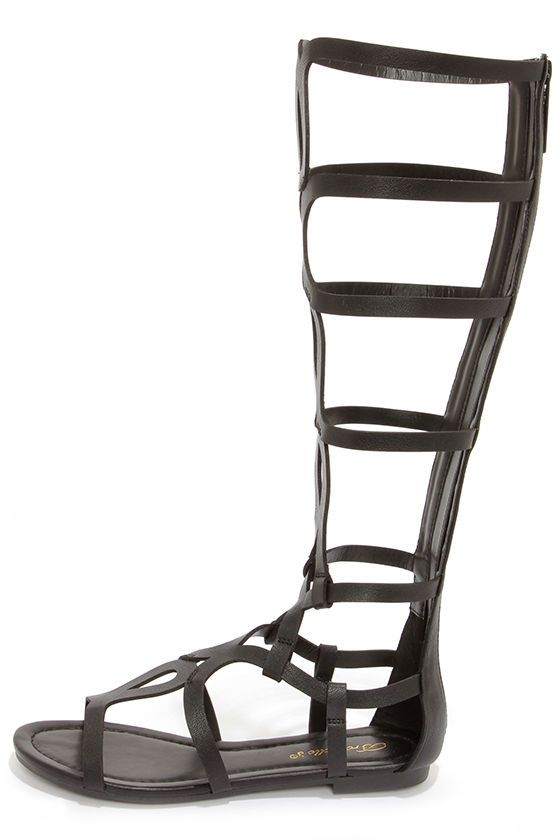 Solo 14 Black Tall Gladiator Sandals at Lulus.com!