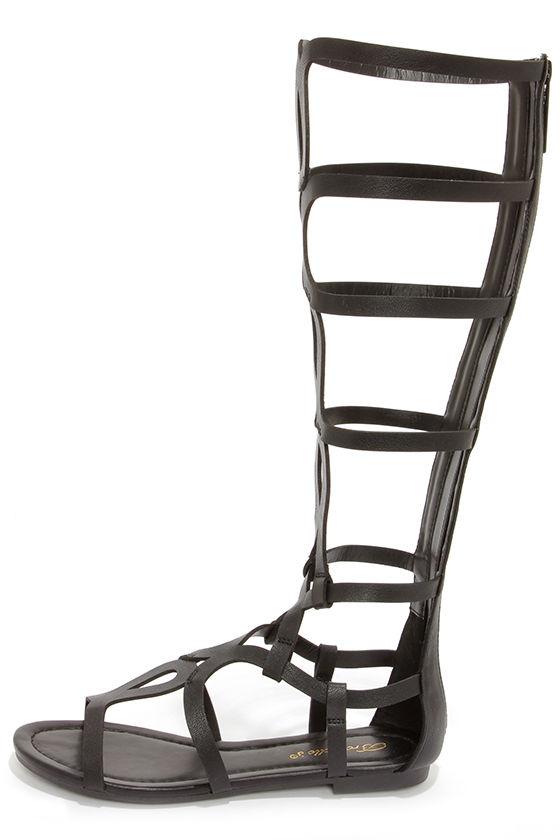 ba9f4ebbb93 Cute Black Sandals - Tall Gladiator Sandals -  30.00