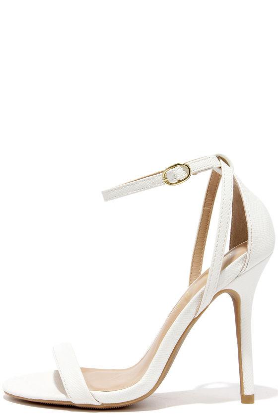 5e0c1605e42 Cute Snakeskin Heels - Ankle Strap Heels - White Heels -  26.00