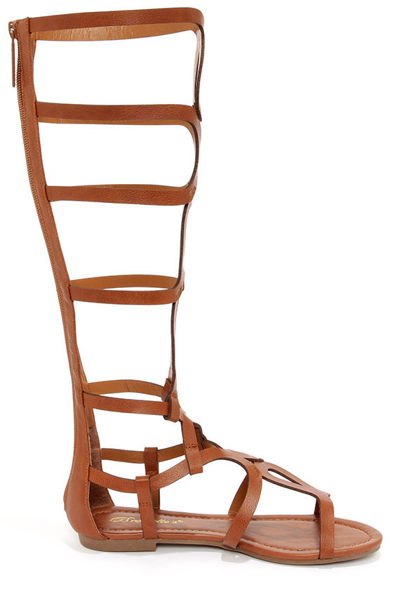 Cute Tan Sandals - Tall Gladiator Sandals - $30.00
