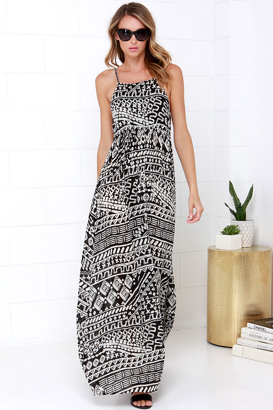 Cool Black Print Maxi Dress - Print Dress - Tribal Print Dress ...