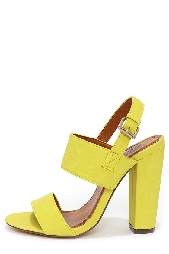Cute Yellow Heels - High Heel Sandals - $32.00