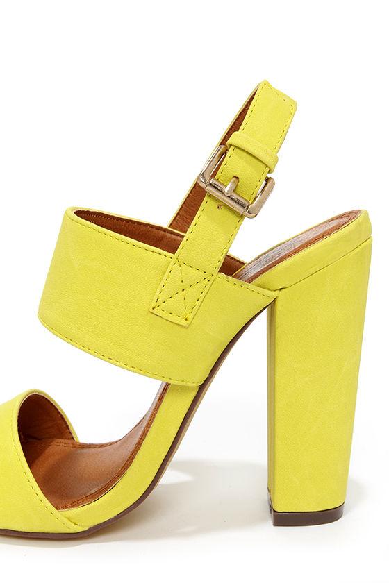 Fay 1 Lemon Yellow High Heel Sandals at Lulus.com!