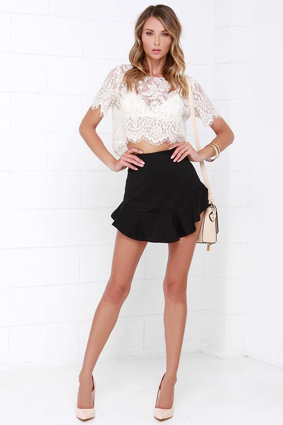 0cff506e04aa Black Skirt - Ruffle Skirt - Mini-Skirt - $38.00