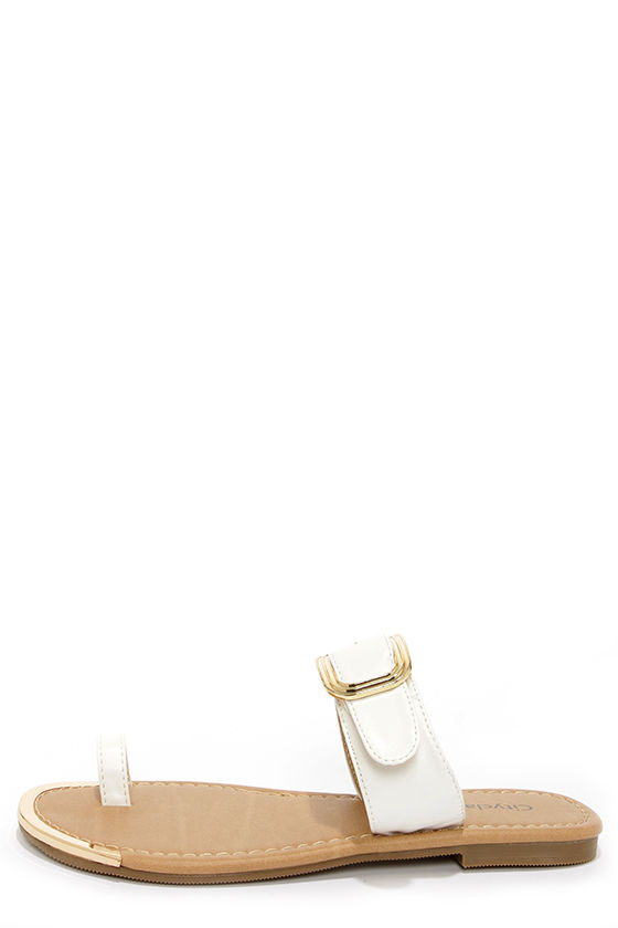 City Classified Fedora White Slide Sandals at Lulus.com!