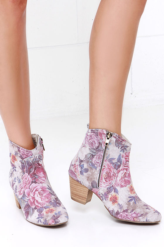 f09563957c61 Sbicca Petunias Stone Multi Suede Floral Print Ankle Boots
